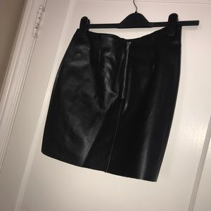 Black faux leather mini skirt WORN ONCE